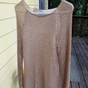 "Chico's Rose Gold ""Amanda"" pullover sweater."